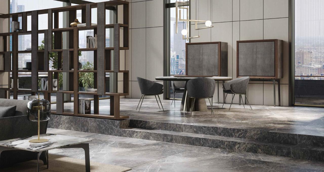 GEO tavolo | LESLIE sedia | ZOE mobile bar | ZOE libreria